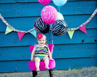 Baby Headband, Hot Pink Headband, Turquoise Headband, Pink Flower Headband, Pink Turquoise Headband, Big Flower Headband