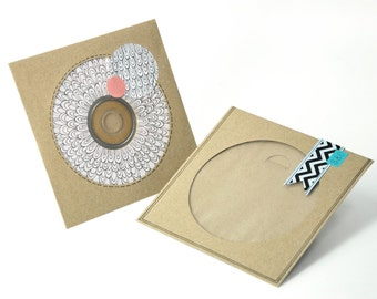 50 Kraft CD Envelopes with window (Blank) - Made of recycled brown paper - Stickers and CDs not included