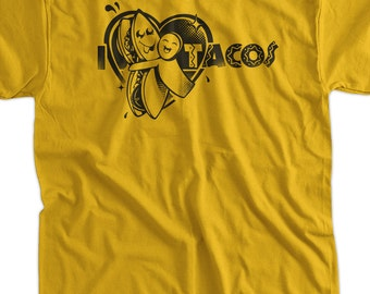 I heart love Tacos T-Shirt Tee Shirt T Shirt Mens Ladies Womens Youth Kids Funny food mexican