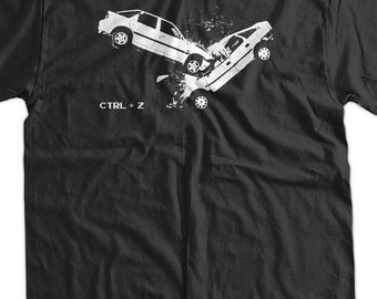 Car Crash accident - Undo CTRL  Z  Screen Printed T-Shirt Mens Ladies Womens Funny Geek nerd computer