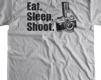 Eat Sleep Shoot Camera V5 Photography Photographer t-Shirt Tee Shirt TShirt Mens Ladies Womens Youth Kids Funny Photography Vintage Camera