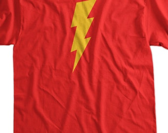 Lightning Bolt Super Hero Screen Printed T-Shirt Tee Shirt T Shirt Mens Ladies Womens Youth Kids Funny Geek