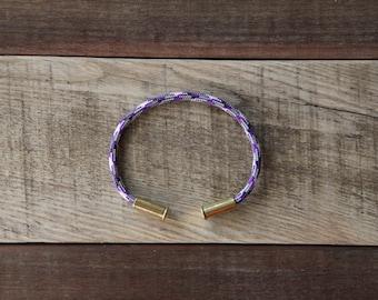 BRZN Bullet Casing Bracelet Barney Camo recycled .22lr shells purple gray black white camo paracord wire men women