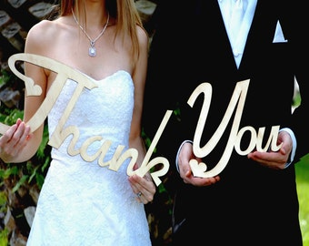Personalized Wedding Sign, Thank You Photo Prop, Newlywed Bride Groom Wooden Sign, Engraved Wedding Table Decor