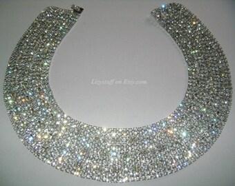 Fancy Lavish HATTIE CARNEGIE Rhodium Plated Megawatts Brilliance Round Marquise/Navette Cut Glittering Blinding Diamante Rhinestone Necklace