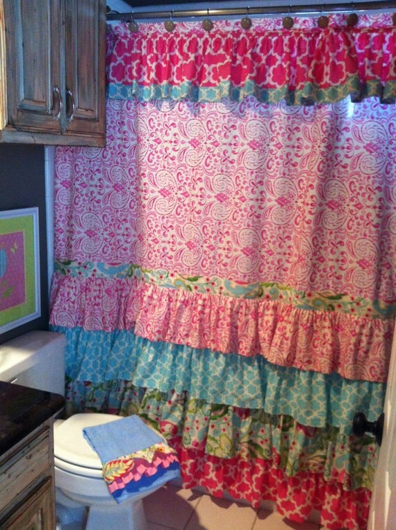 Items similar to Custom Ruffled Shower Curtain on Etsy