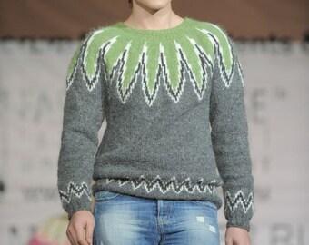 "PDF Knitting Pattern Lopapeysa Men's Sweater  ""Aloe Vera"" 100% Icelandic Lett Lopi Wool"