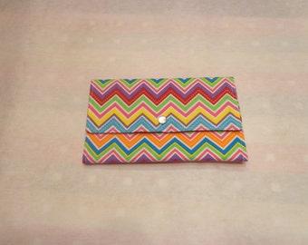 Tri-fold wallet, Jewelry clutch, organizer, Colorful Chevron