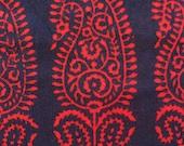 Hand block printed bright red paisleys on midnight blue cotton fabric-1 yard