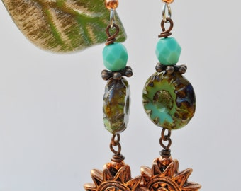 Turquoise blue Czech glass and copper sun face earrings