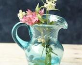 Vintage Miniature Pitcher glass blue green