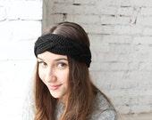 Black crochet bandeau, main nouée bandeau, cadeau pour elle, accessoire chaud, bandeau turban