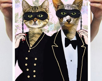Party Cats: Art Poster Digital Art Original Illustration Giclee Print Wall art Wall Hanging Wall Decor Animal Painting
