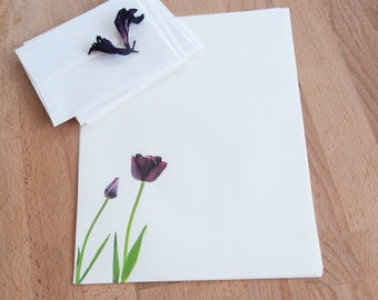 Tulipe Eco Friendly Letter Writing Set, Purple Flower Personalized Paper