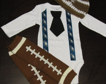 PHILADELPHIA EAGLES inspired football outfit for baby boy - tie bodysuit with suspenders, crochet hat, leg warmers