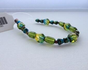 Blue Yellow Combo Mix Czech Glass Beads 25pcs