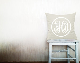 Monogram pillow decorative throw pillows cover monogrammed pillow pillow throw pillow monogrammed pillow cover 18x18 inches pillow