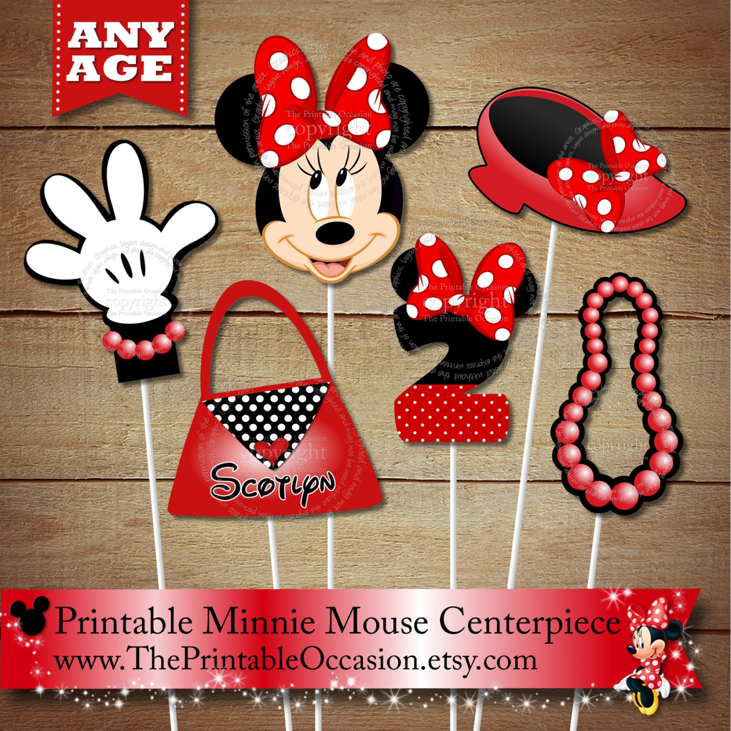 Red polka dots personalized minnie mouse printable centerpiece