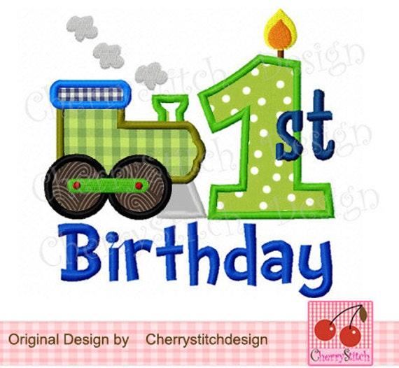 Choochoo Train 1st Birthday Machine Embroidery Applique