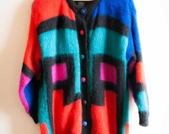 80s Mohair Mondrian Print Cardigan |  Multicolour Mohair Jacket Cardigan