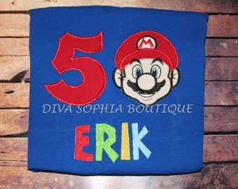 Personalized Super Mario Bros T-shirt - Birthday T-shirt