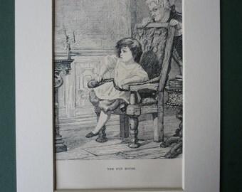 1887 Antique Hans Christian Andersen Print - Antique Print - Old House - Fairytale Print - Tin Soldier - Children's Print - Nursery - Folk