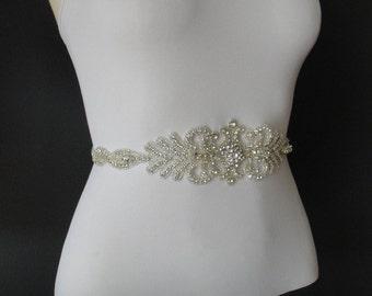 Swarovski Crystal Bridal Sash Belt, Rhinestone Crystal Bridal Belt