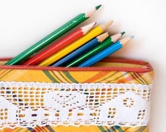 Pencil Case, Yellow Plaid Zipper Pouch, Small Bag, School Supplies Small Cotton Case, Lace