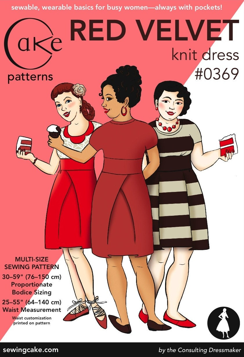 Cake Red Velvet Pattern : Red Velvet Knit Dress Cake Patterns 0369 by SewingCake on Etsy