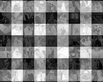 20x20 inch Small Gingham Check Photo Mosaic Collage Wall Art - Unique Decoration or Gift Created with your Digital Photos