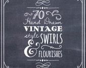 ClipArt Swirls & Flourishes in Chalkboard // Photoshop Brushes // Hand Drawn // Wedding Calligraphy // Digital // Vector // Commercial Use