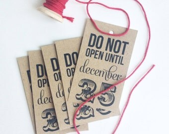 Do Not Open Till December 25th Tags Christmas Tags Kraft Brown Labels Funny Christmas Cards Holiday Wrap