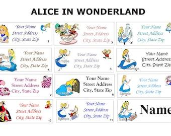 CUTE  Alice In Wonderland Return Address, Party & Name Sticker Labels