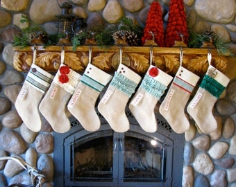 Personalized Christmas Stocking: Green and Red Collection Burlap Christmas stocking personalized stocking ruffle stocking