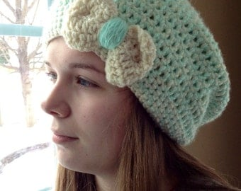 Crocheted Slouch Hat with Bow Tie, Handmade Slouch Hat in Blue and Cream