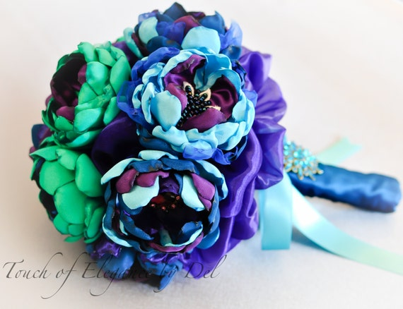 "9"" 'Peacock Bliss' Bridal Brooch Bouquet"