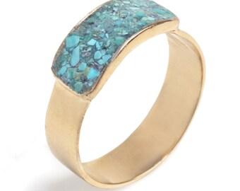 14K Gold plated Rectangular statement ring inlaid with colorful enamel, 14K Gold Filled Rectangular ring inlaid enamel