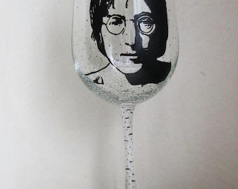 Hand Painted Wine Glass - JOHN LENNON