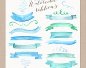 Watercolor Cliparts Ribbons Banners and Swashes Ornaments Digital cliparts for branding and scrapbooking