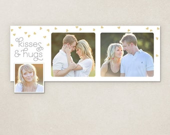 Valentine Facebook timeline cover template - Hugs & kisses Valentine's day - Photoshop template PSD