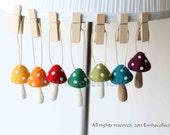 7 Colourful Ornaments Needle Felted 7 Rainbow Mushrooms Decoration Handmade Party Ornaments