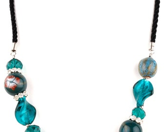 Teal Beaded Murano Glass Fashion Necklace
