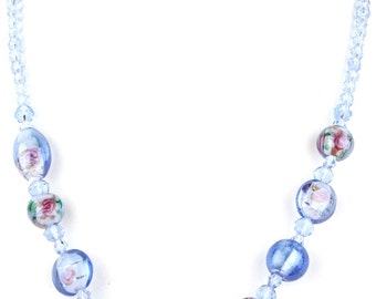 Periwinkle Blue Beaded Murano Glass and Crystal Charm Fashion Necklace