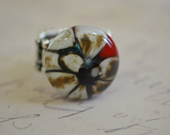 Fused Glass Ring - Red Reactive Ring - Reactive Glass - Red - Vanilla - fused glass jewelry