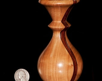 Cherry with cocobolo inlay vase or weedpot, 5 inches tall