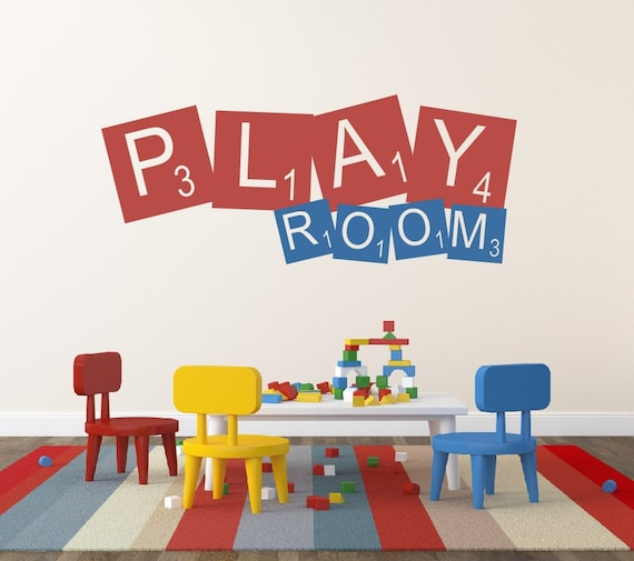playroom wall decal childrens decor vinyl wall decal. Black Bedroom Furniture Sets. Home Design Ideas