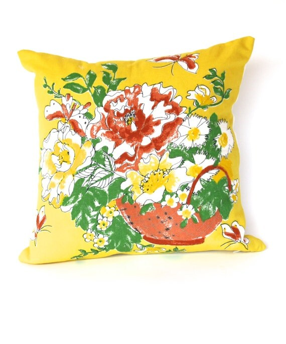 Throw Pillows Vintage Fabric : VINTAGE THROW PILLOW Retro Fabric Bring A Little