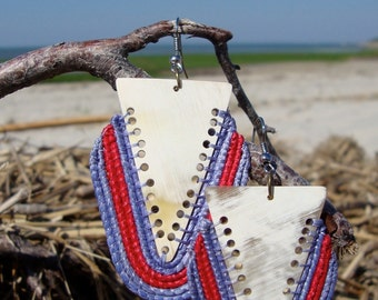 African Horn Triangle Earrings with Weaving (Purple/Red)