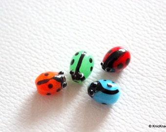 Ladybug Lampwork Glass Mixed Color Beads x 4