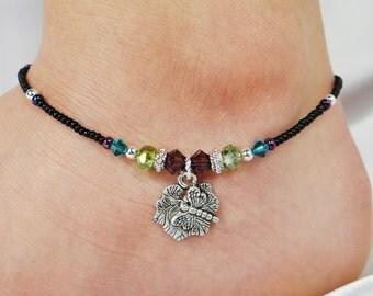 Anklet, Ankle Bracelet, Dragonfly Anklet, Purple Anklet, Black Anklet, Beaded Anklet, Spring Anklet, Foot Jewelry Blue Anklet Crystal Anklet